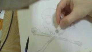 """How to draw a """"Cool"""" Skull and Cross bones tattoo design (speed drawing sketch)"""