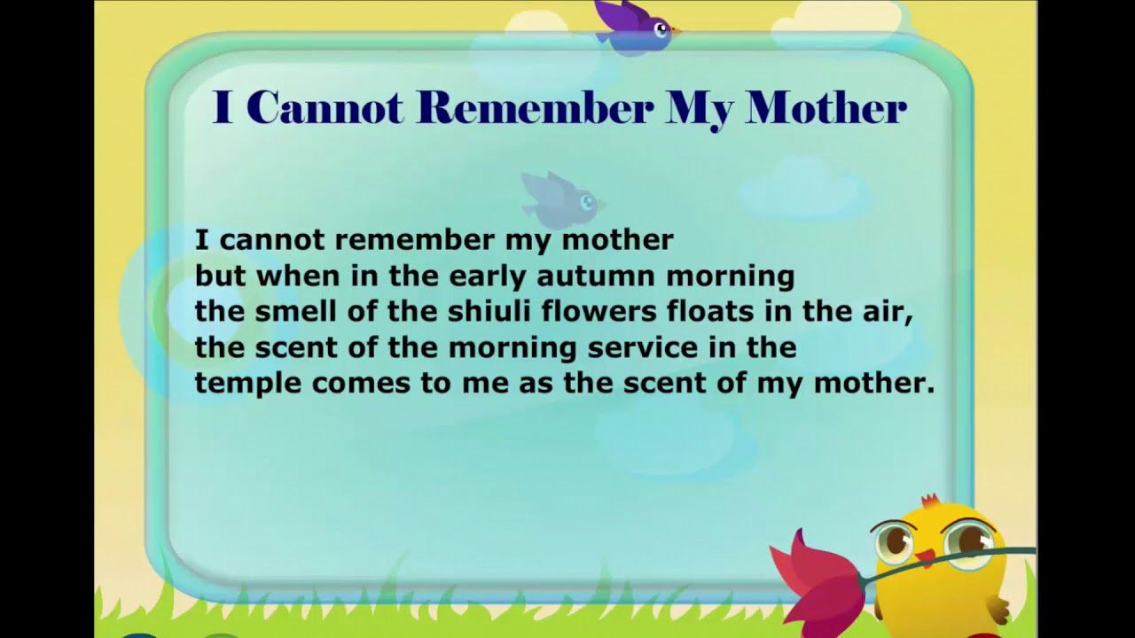 I Cannot Remember My Mother || English Poem