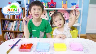 Learn colors with Xavi and baby Anna - Painting Furniture