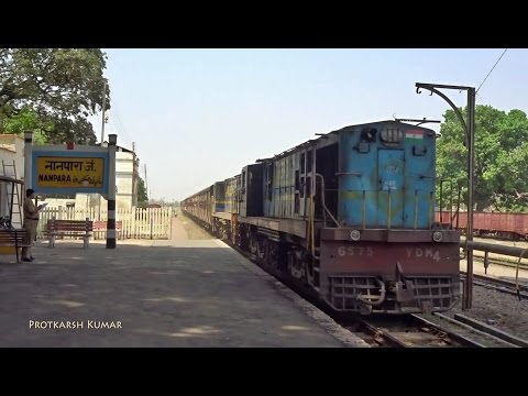 Mailani - Bahraich Metre Gauge passenger entering Nanpara Jn. with Twin YDM4s