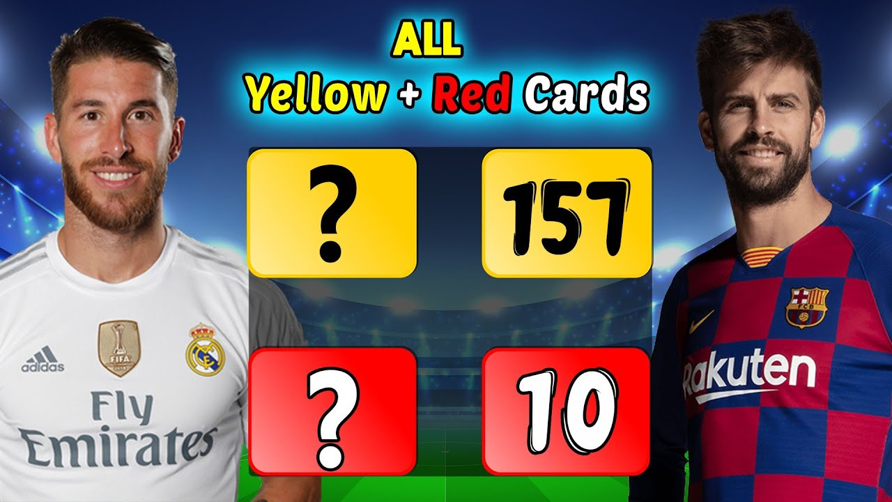 Sergio Ramos Vs Gerard Pique Career All Yellow & Red Cards Compared.