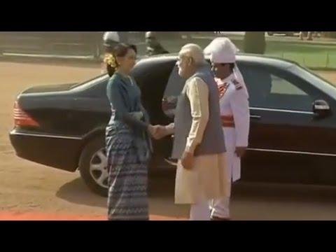 Myanmar's Aung San Suu Kyi Meets PM Modi