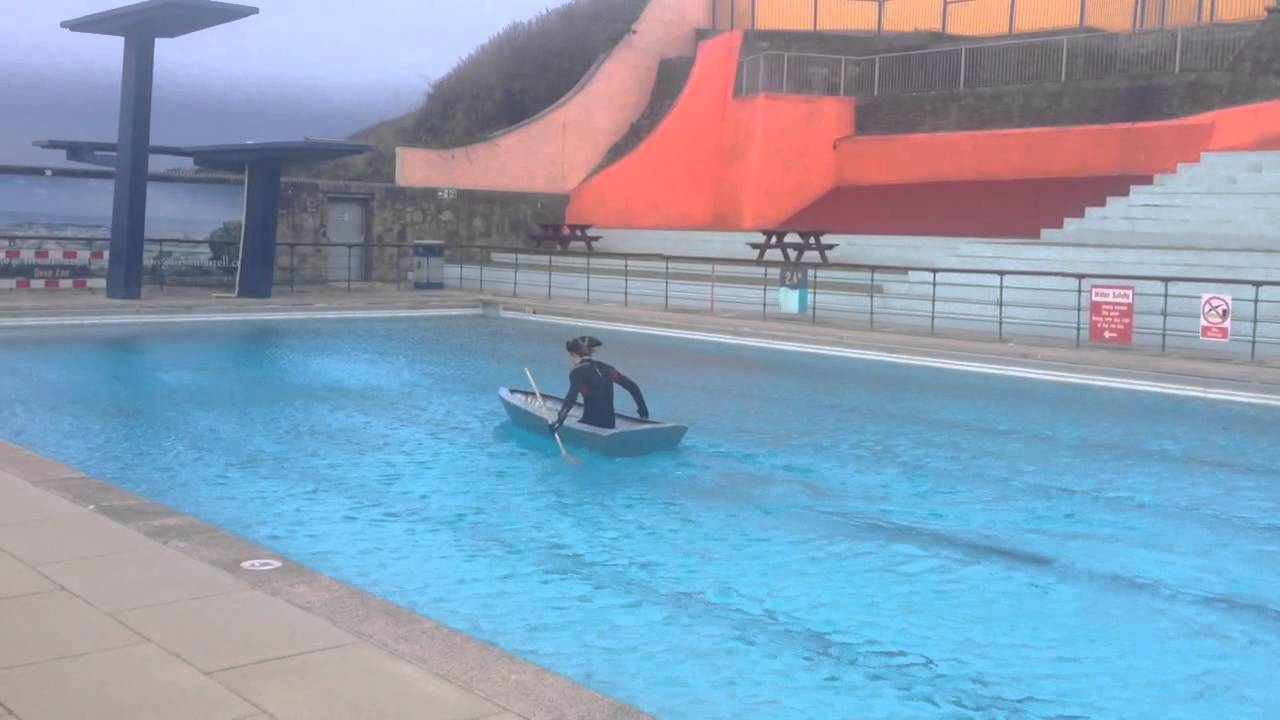 Duct tape boat takes to portishead open air pool youtube - Open air swimming pool portishead ...