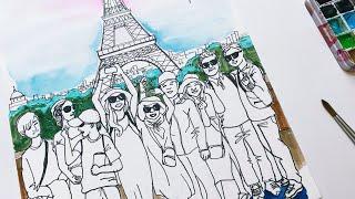 가족 여행사진 에펠탑 일러스트우리는 하느님께 피어오르는…