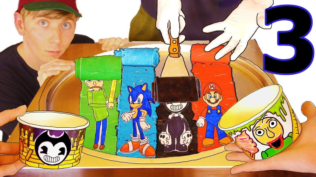 DO NOT EAT Ice Cream Rolls (Part 3) Flavors: Sonic, Mario, Bendy, Baldi Amazing Ice Cream