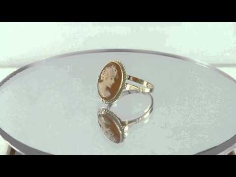 Estate 14k Yellow Gold Carved Lady Profile Sardonyx Cameo Ring