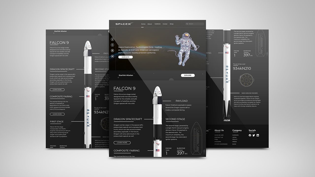 Spacex website redesign using Html, Css and JavaScript Part 1