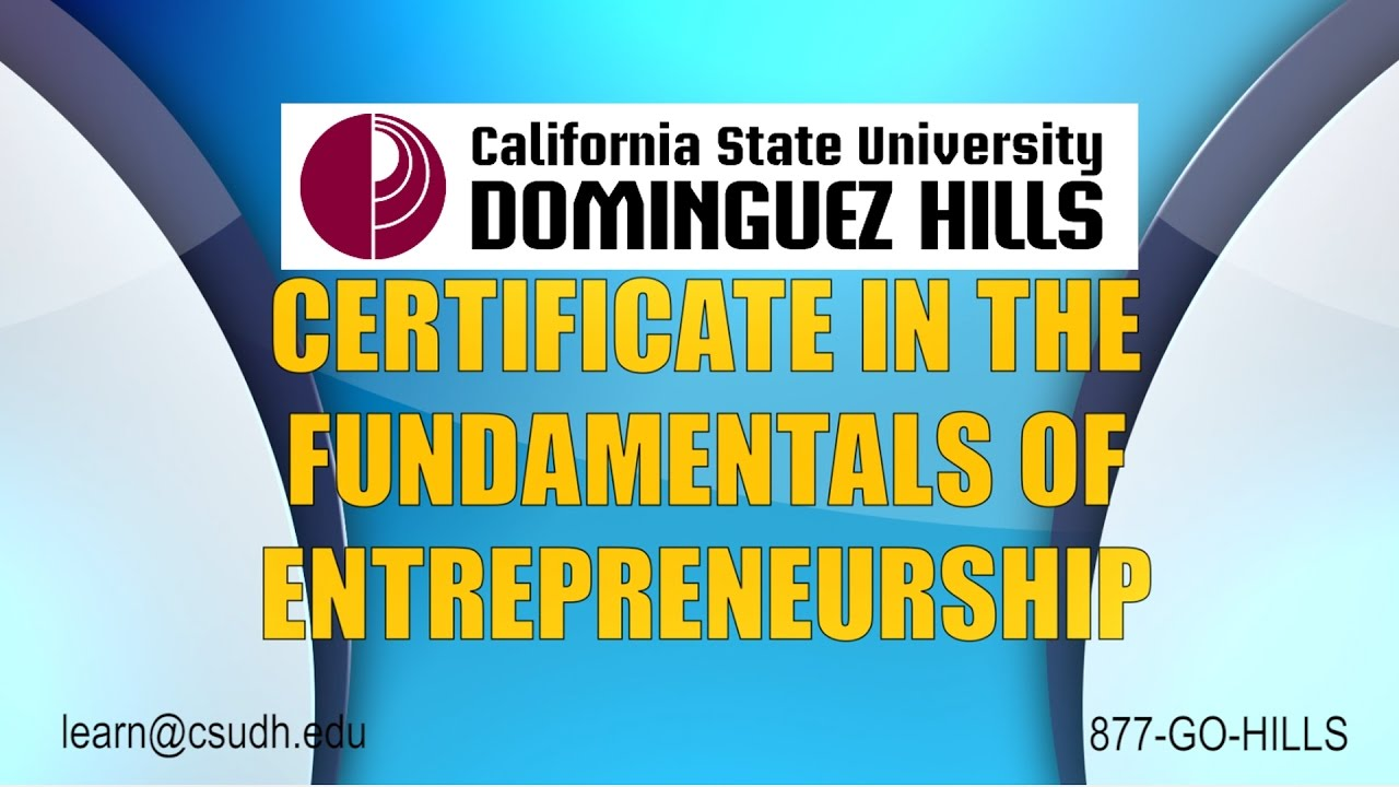 Certificate In The Fundamentals Of Entrepreneurship Csudh Youtube