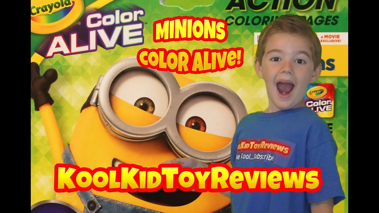 minions color alive by crayola despicable me coloring pages kool kid toy reviews youtube