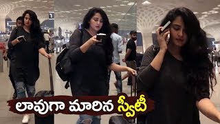 Anushka Shetty Spotted At Airport With Weight Gain Look | Anushka Shetty New Movie | Filmylooks