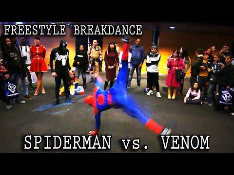 Real Life SPIDER-MAN vs. VENOM :: INSANE Freestyle Breakdance Battle!! [Retrocon 2016] - Sevenblade