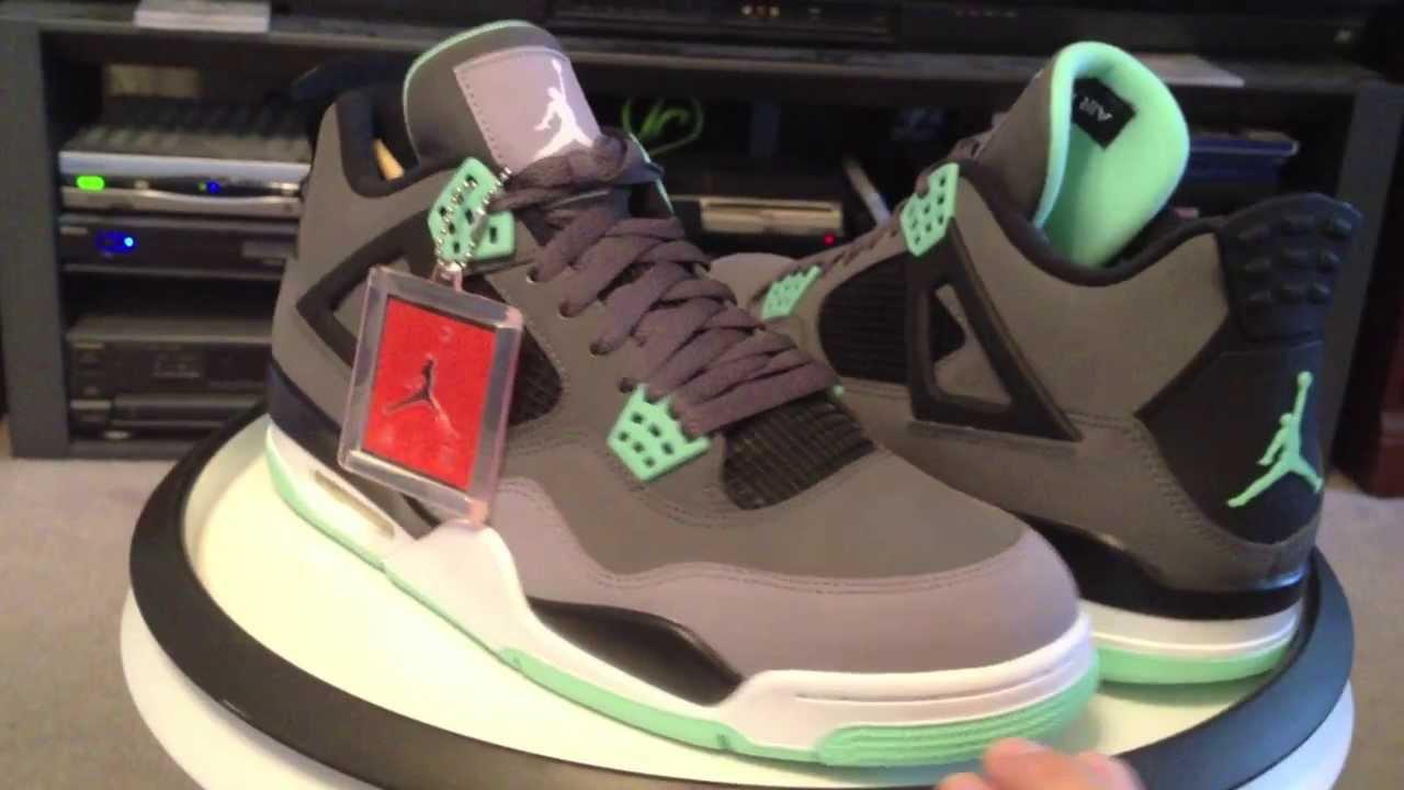 d314e7cd8a16 Nike Air Jordan IV (4) Retro - Green Glow - Dark Grey   Green Glow ...