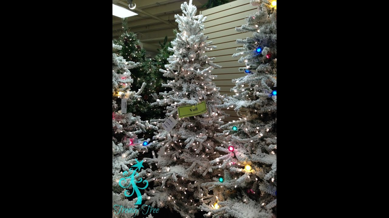 7.5' Lit Slim Flocked Vail Christmas Tree With Clear
