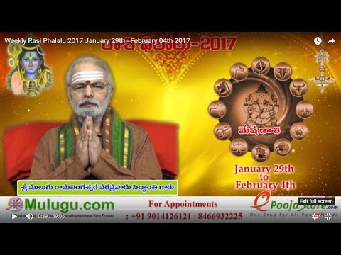 Weekly Rasi Phalalu 2017 January 29th - February 04th  2017