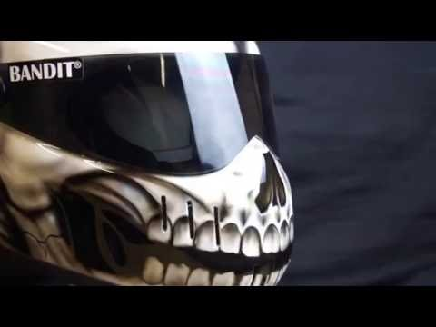 Bandit XXR Custom  motorcycle crash helmet Airbrushed in Evil Skull design