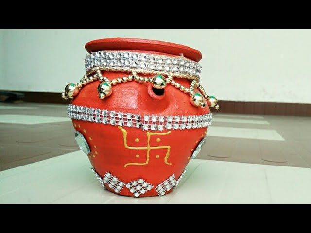 How to decorate Karwa at Home/ Simple and Easy Karwa Pot Decoration/ Karwa Chauth Decoration Ideas