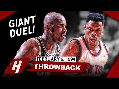 Patrick Ewing SCHOOLS Young Shaq - GIANT Duel Highlights (1994.02.06) - Ewing with 32 Pts!