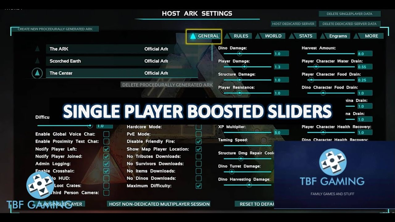 Sliders for Single Player Ark Survival Evolved Xbox One - YouTube