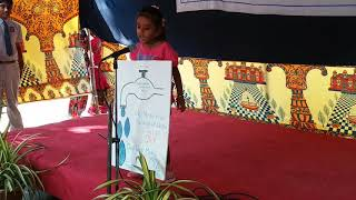 Fancy Dress Karthika of class UKG as Save Water HMHS Ferozguda Hyderabad
