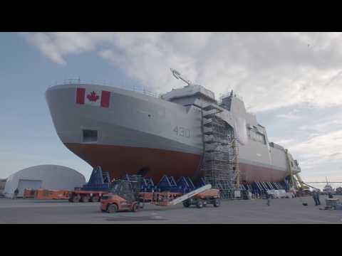 Moving the Final Mega Block of the Future HMCS Harry DeWolf   Irving Shipbuilding
