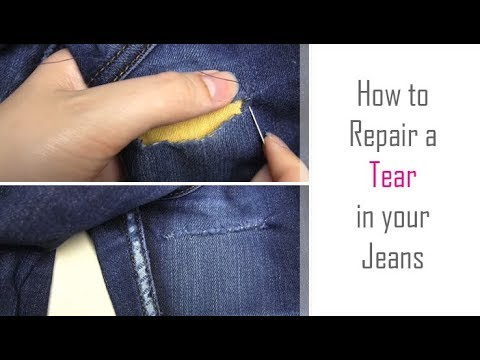 How to: Repair a Tear in Jeans | Hand Sew a Repair in Clothing | Easy Tutorial for Beginners