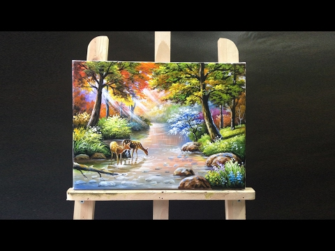 Deer Drinking Stream Water Acrylics Painting
