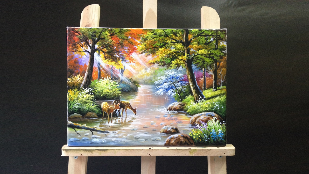 Deer Drinking Stream Water Acrylics Painting Youtube
