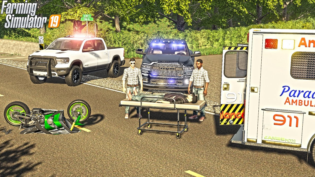 SUPER-BIKE POLICE CHASE (BIG CRASH) | AMBULANCE RIDE | FARMING SIMULATOR 2019 thumbnail