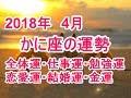 2018年4月かに座の運勢 全体運・仕事運・勉強運・恋愛運・結婚運・金運とは?