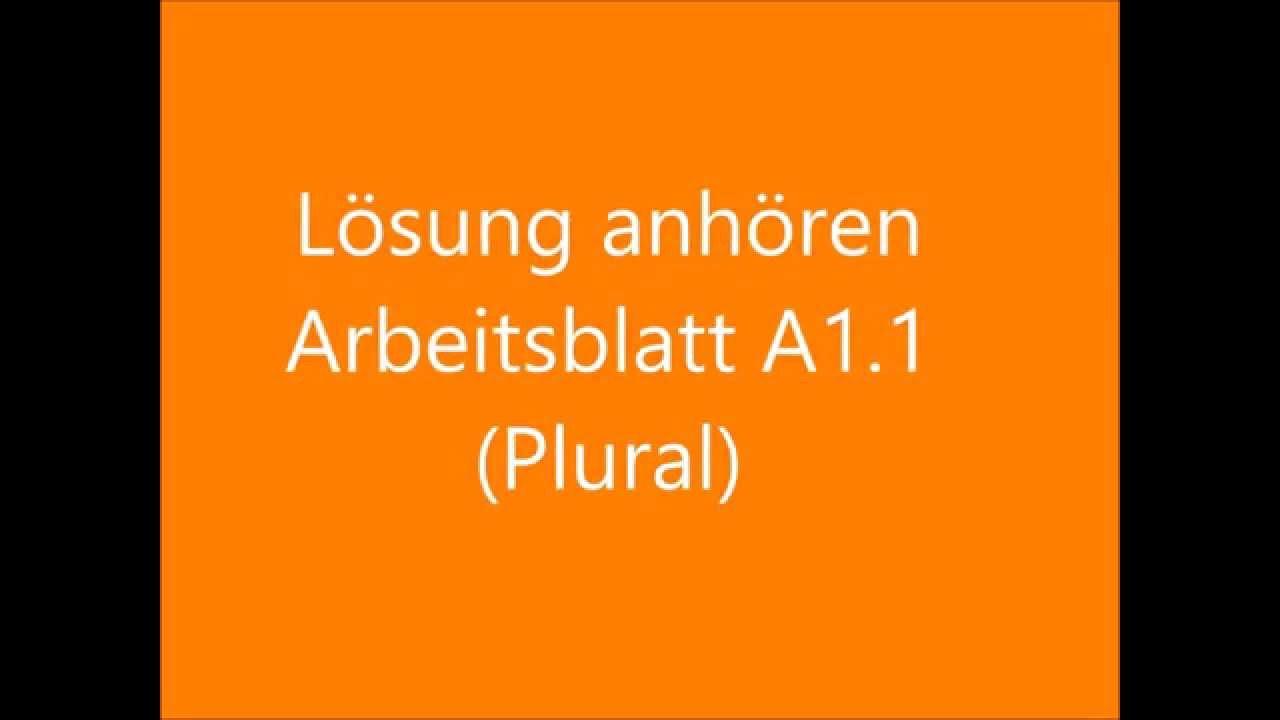 Lösung A1.1: Arbeitsblatt Plural - YouTube