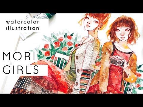 MORI GIRLS - Watercolor illustration-