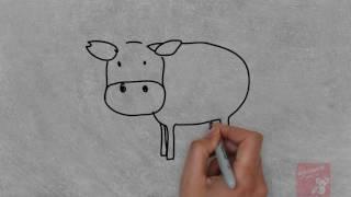 bé tập vẽ con vật, bé tập vẽ con bò sữa
