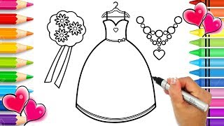 How to Draw Beautiful Outfit Step by Step for Kids | Glitter Art | How to Draw Bridesmaid Dress