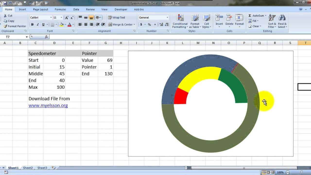 Create speedometer chart in excel hindi youtube for Excel speedometer template download