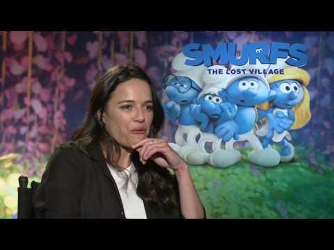 """Smurfs: The Lost Village: Michelle Rodriguez """"Smurfstorm"""" Movie Interview"""