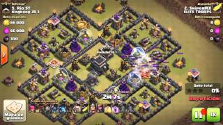 Clash of clans !! SUPER ATAQUE HIBRIDO TH 9!!!! 3 ESTRELLAS RECOMENDADO