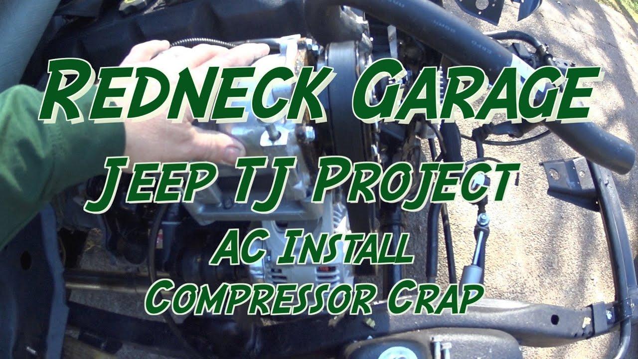 jeep wrangler tj project - ac install 2 - compressor problems