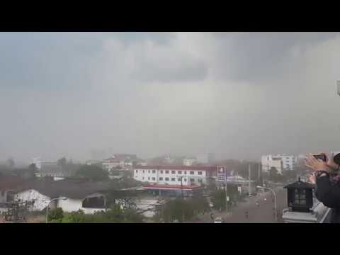 Strong wind and dust over the sky of Vientiane, Laos on 14 mar 2018