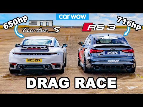 Porsche 911 Turbo S vs 716hp Audi RS3: DRAG RACE