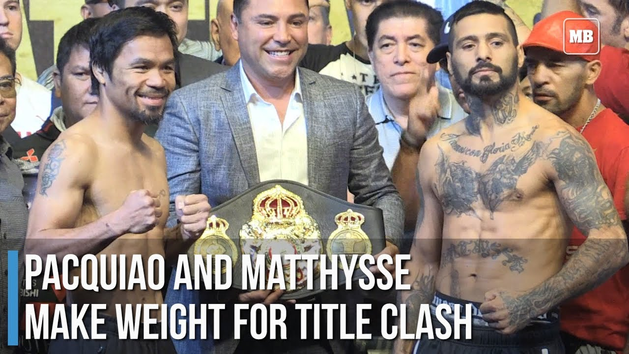Pacquiao and Matthysse make weight for title clash
