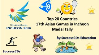 Top 20 Countries in Asian Games 2014 Medal Winners Tally