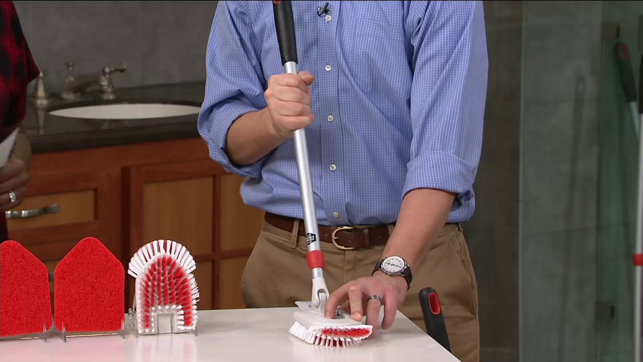 oxo good grips extendable tub tile brush scrubber extra heads on qvc