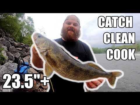 Indiana WALLEYE River Fishing (Catch And Cook)