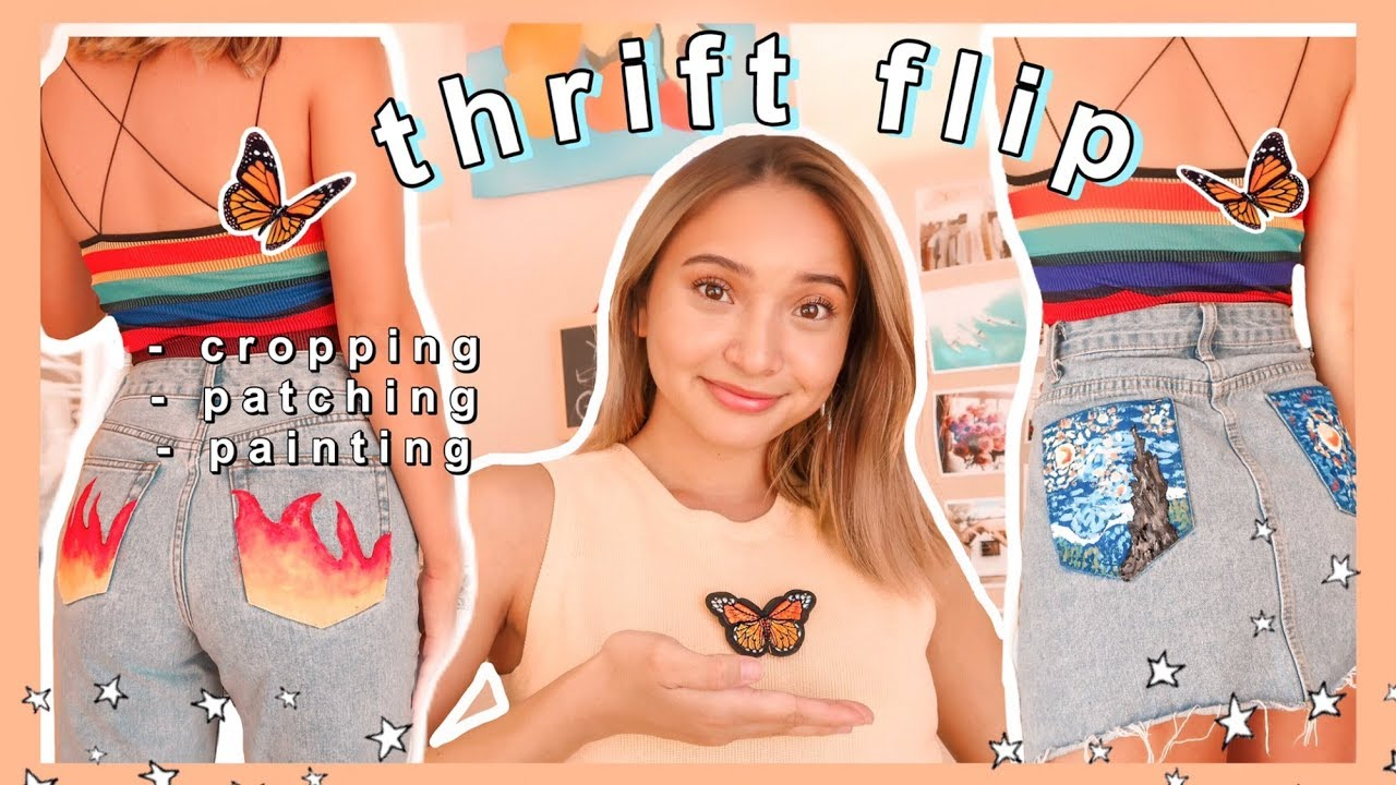 [VIDEO] - THRIFT FLIP + PAINTING MY CLOTHES AND TRY ON HAUL| diy brandy melville/urban outfitters clothing 2