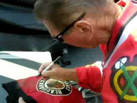 Stan Mikita signing my hawks bag. 9.20.08