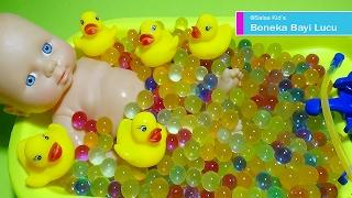 Boneka Bayi Mandi Bola Jelly Bersama Bebek 💚 Baby Doll Bath Time With Duck