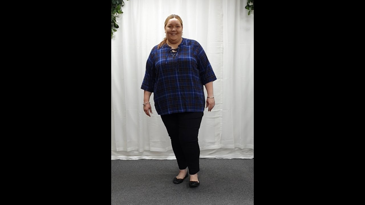 Plus Size Blue and Purple Cotton Tartan Lace Up Blouse