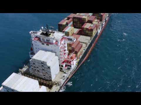 Full Containers Loaded Vessel Was Offshore 4K UHD | Logistics Footage