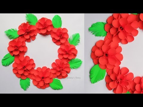 Paper Flowers Wall Decorations - Wall Hanging craft Ideas - Home Decorating Ideas