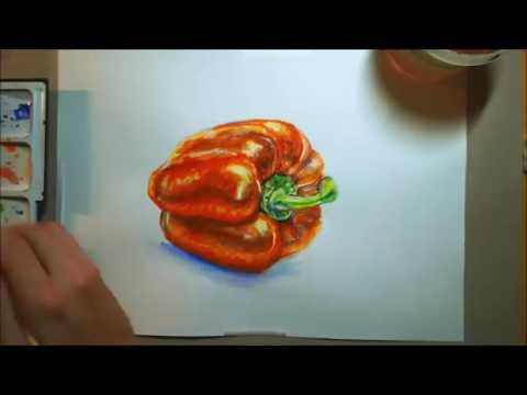 Let's paint 006 - A Bell Pepper (Watercolours) [SPEED PAINTING]